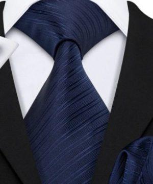 Kravatový set s vreckovkou a gombíkmi s tmavo modrým vzorom
