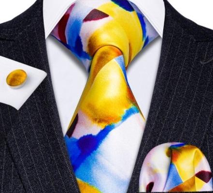 Kravatový set s vreckovkou a gombíkmi s viac farebným vzorom