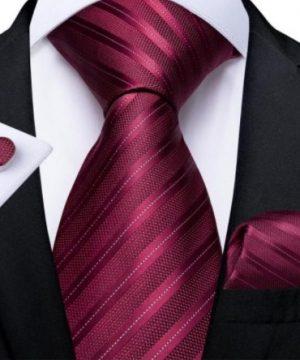 Kravatový set s vreckovkou a gombíkmi s vínovo-červenými pásikmi