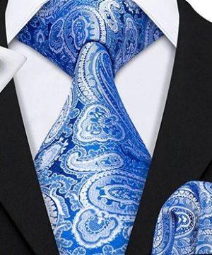 Kravatový set s vreckovkou a gombíkmi so svetlo modrým vzorom