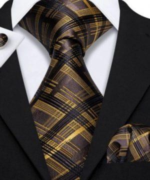 Kravatový set s vreckovkou a gombíkmi so zlato-čiernym vzorom