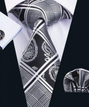Luxusný set - kravata, manžety a vreckovka s bielo-čiernym vzorom