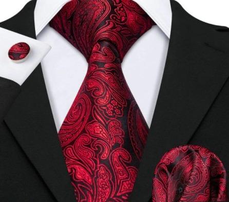 Luxusný set - kravata, manžety a vreckovka s bordovým vzorom