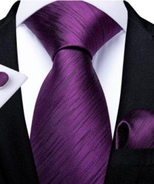 Luxusný set - kravata, manžety a vreckovka s fialovým vzorom