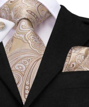 Luxusný set - kravata, manžety a vreckovka s krémovo-hnedým vzorom