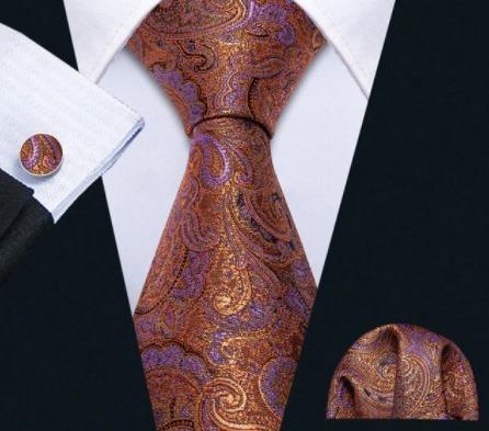 Luxusný set - kravata, manžety a vreckovka s orientálnym vzorom