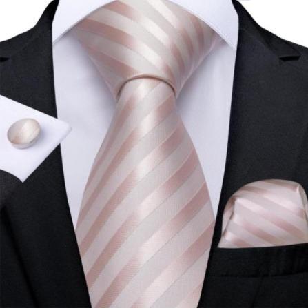 Luxusný set - kravata, manžety a vreckovka so staro-ružovým vzorom