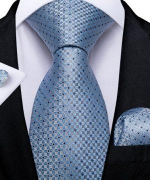 Luxusný set - kravata, manžety a vreckovka so svetlo-modrým vzorom