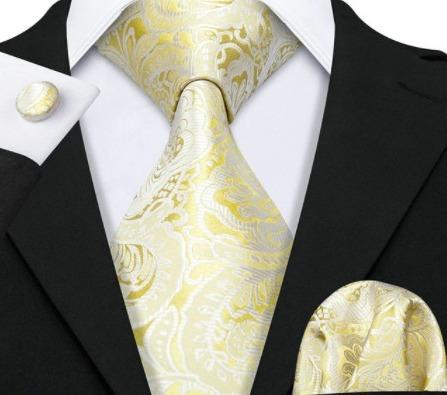 Luxusný set - kravata, manžety a vreckovka so zlatým vzorom