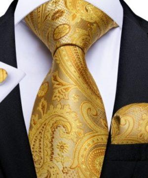 Pánska kravatová sada so žltým vzorom - viazanka + gombíky + vreckovka