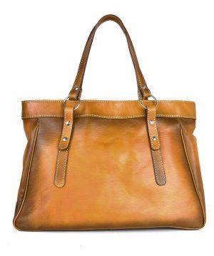 Kožená kabelka 8602 ručne tamponovaná a tieňovaná v tmavo žltej farbe,