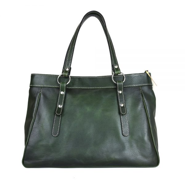 Luxusná kabelka kožená 8602 ručne tamponovaná a tieňovaná v tmavo zelenej farbe