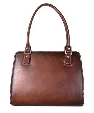 Luxusná kožená kabelka 8614 ručne tamponovaná a tieňovaná v Cigaro farbe