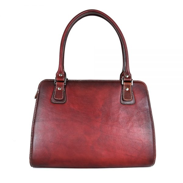 Luxusná kožená kabelka 8614 ručne tamponovaná a tieňovaná v bordovej farbe