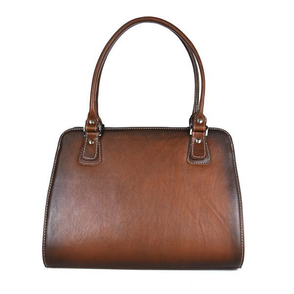 Luxusná kožená kabelka 8614 ručne tamponovaná a tieňovaná v hnedej farbe