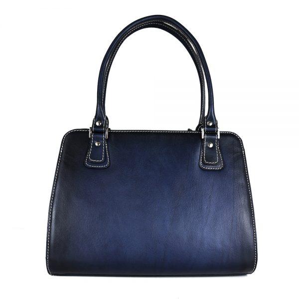 Luxusná kožená kabelka 8614 ručne tamponovaná a tieňovaná v tmavo modrej farbe