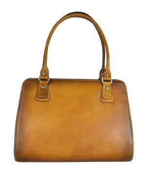 Luxusná kožená kabelka 8614 ručne tamponovaná a tieňovaná v tmavo žltej farbe