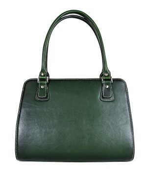 Luxusná kožená kabelka 8614 ručne tamponovaná a tieňovaná v tmavo zelenej farbe