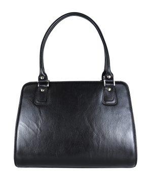 Luxusná kožená kabelka 8614 v čiernej farbe