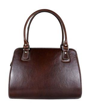 Luxusná kožená kabelka 8614 v tmavo hnedej farbe