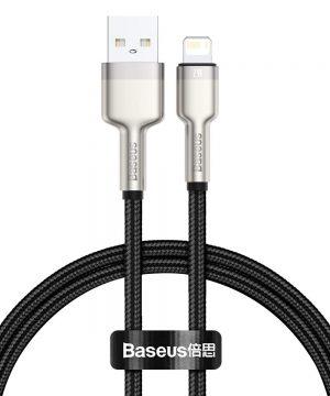 Kovový kábel Lightning Metal data cable, 2.4A, 1m, Baseus, čierny