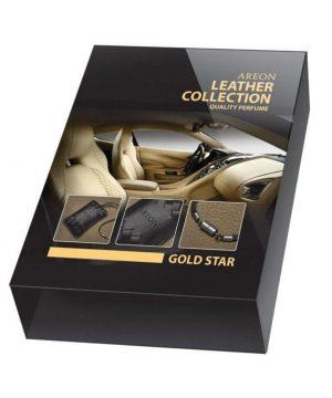Luxusný osviežovač vzduchu do auta v koženom vrecku Areon Leather Collection GOLD STAR