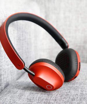 Bezdrôtové bluetooth slúchadlá BASEUS s mikrofónom / konektorom 3,5 mm káblom, červená farba