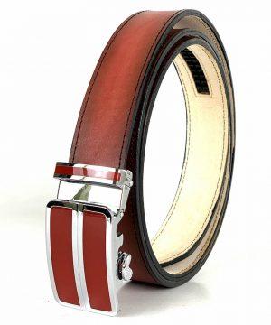 Červený opasok z pravej kože s automatickou prackou RED_2 - LIMITED EDITION,