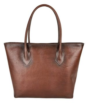 Luxusná Kožená dámska kabelka SHOPPER ručne tamponovaná a tieňovaná v cigaro farbe