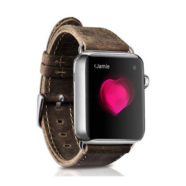 Kožený náramok pre Apple Watch iCarer, Hovädzia koža, Crazy horse series, Dark Brown, 38mm
