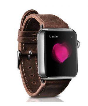 Kožený náramok pre Apple Watch iCarer, Hovädzia koža, Dark Brown