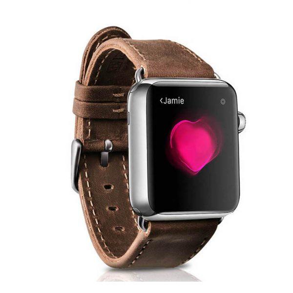 Kožený náramok pre Apple Watch iCarer, Hovädzia koža, Crazy horse series, Light Brown, 38mm