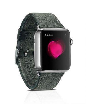 Kožený náramok pre Apple Watch iCarer, Hovädzia koža, Leather Series Green, 38mm