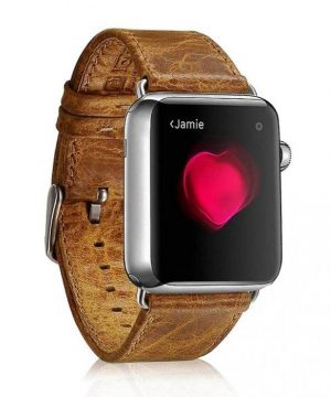Kožený náramok pre Apple Watch iCarer, Hovädzia koža, Leather Series Orange, 38mm / 40mm