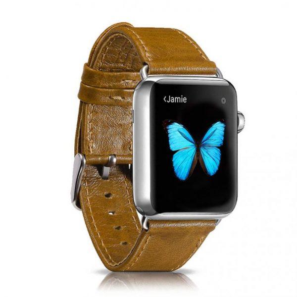 Kožený náramok pre Apple Watch iCarer, Hovädzia koža, Leather Series Orange, 38mm