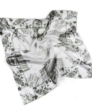 Luxusná hodvábna šatka SLOVENSKO BLACK & WHITE, 90 x 90cm, Ručná výroba na Slovensku
