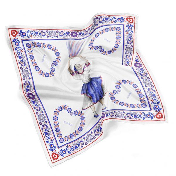 Luxusná hodvábna šatka TANEČNICA, 90 x 90cm, Ručná výroba na Slovensku