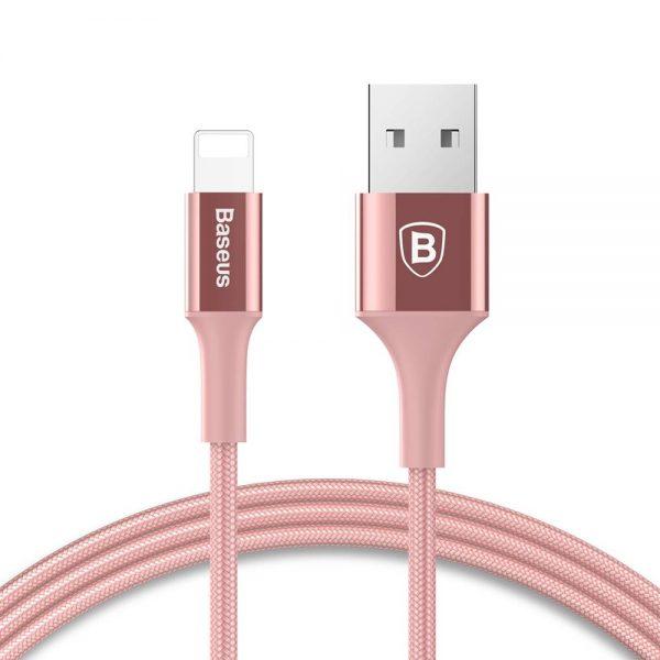 Luxusný kovový Lightning kábel s LED svetlom, 1m, Baseus, ružovo zlatý