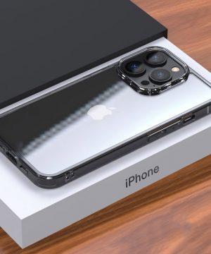 Luxusný sklenený štýlový kryt pre iPhone 13 Pro, transparentný