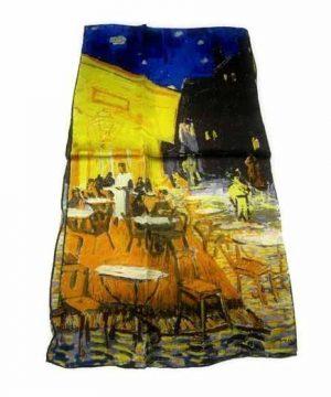 Luxusný-hodvábny-šál-Vincent-Van-Gogh-Nočná-terasa-kaviarne-600x600