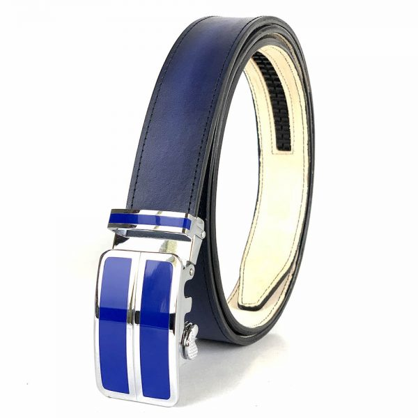 Modrý opasok z pravej kože s automatickou prackou BLUE_2 - LIMITED EDITION