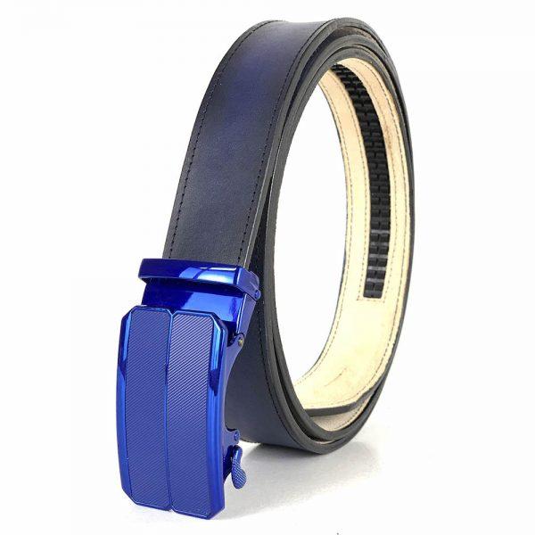Modrý opasok z pravej kože s automatickou prackou BLUE_3 - LIMITED EDITION