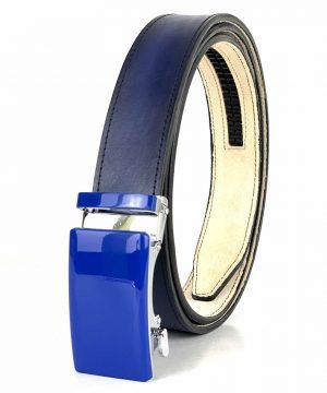 Modrý opasok z pravej kože s automatickou prackou BLUE_4 - LIMITED EDITION