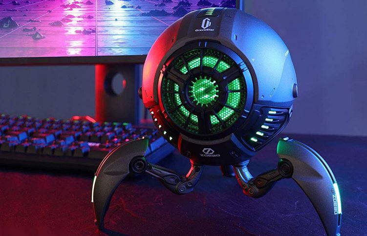 Robotický reproduktor GravaStar Bluetooth 5.0 so zvukom 20 W, LED svetlami a nastaviteľnými nohami