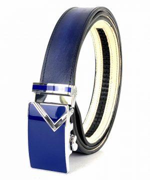 Modrý opasok z pravej kože s automatickou prackou LIMITED EDITION