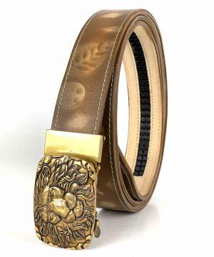 Opasok z pravej kože s automatickou prackou GOLD LION - LIMITED EDITION