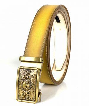 Žltý opasok z pravej kože s automatickou prackou GOLD TIGER