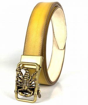 Žltý opasok z pravej kože s automatickou prackou GOLD SCORPION